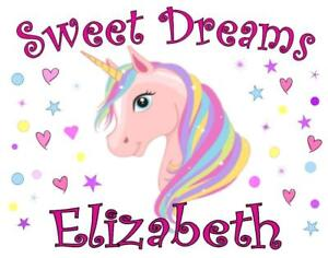 "UNICORN PILLOWCASE /""SWEET DREAMS/"" Personalized Any NAME Super Soft Bedding"