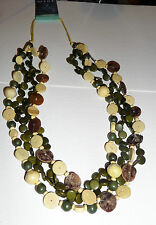 = LESS THAN HALF PRICE = GREEN & CREAM WOOD COTTON MULTI CORD NECKLACE by MINT