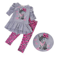 Toddler Kids Baby Girls Autumn Outfits Clothes T-shirt Tops + Pants 2pcs Set