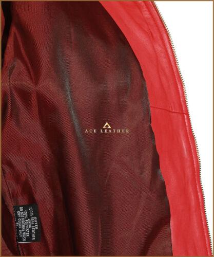 Lauren Red Ladies New Safari Style Real Soft Lambskin Nappa Leather Coat
