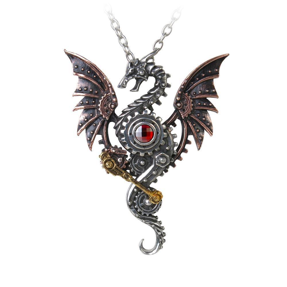 Alchemy Gothic Blast Furnace Behemoth Dragon Steampunk Swarovski Pewter Pendant