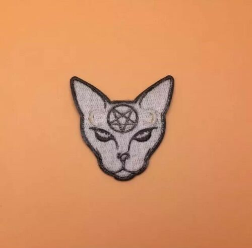 """2.75"""" Grey Egyptian Cat Embroidered Iron On Patch Appliqué"""