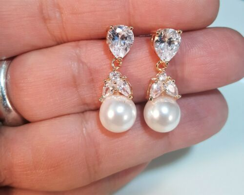 Bridal CZ Faux Pearl Wedding Bridesmaid Prom Earrings Gold or Silver