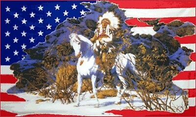 8' x 5' USA INDIAN CHIEF HORSE FLAG America Snow Scene American US Line Dancing