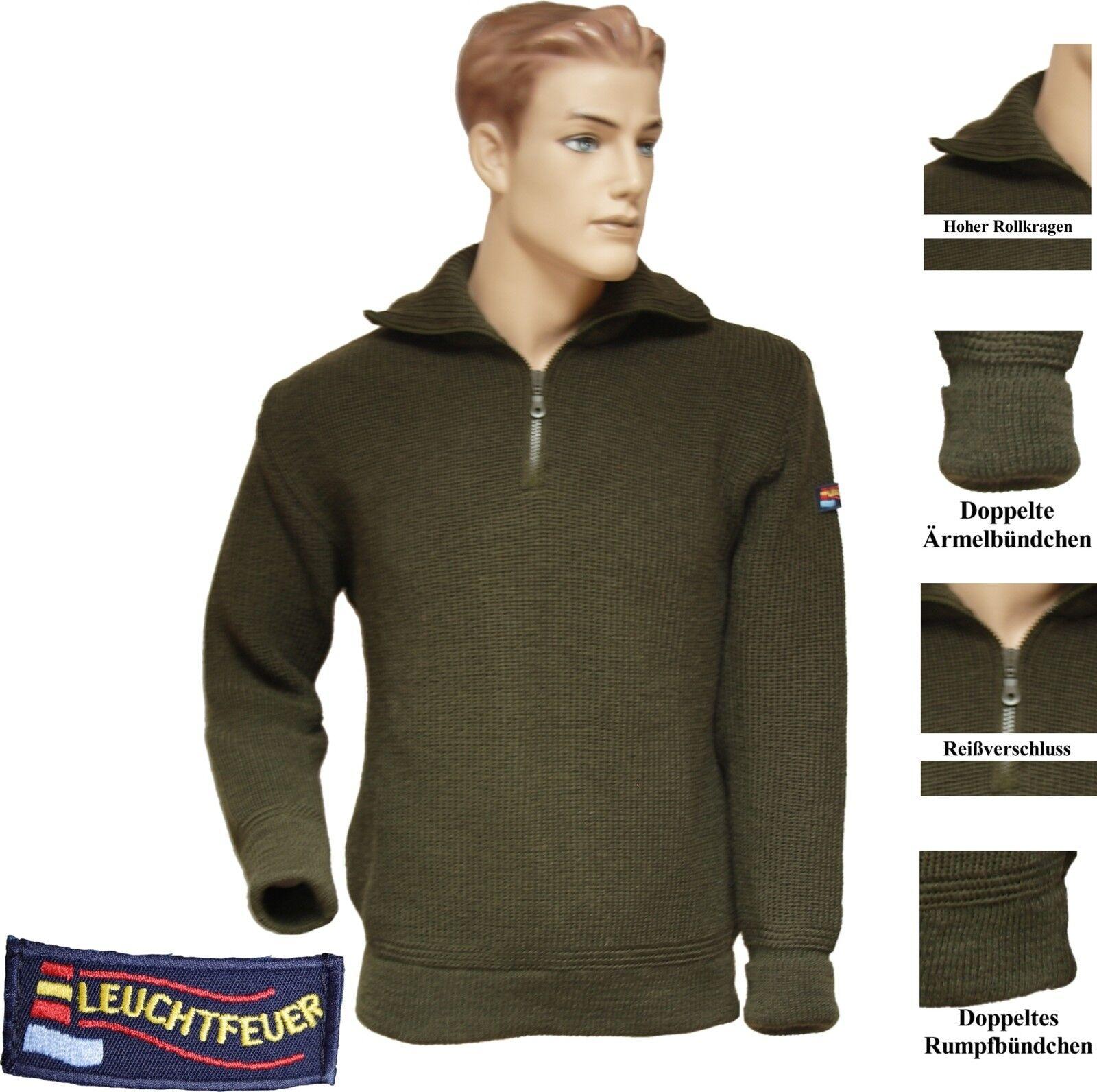 Warmer Troyer almirante 100% lana virgen noruegos jersey cacería suéter verde oliva