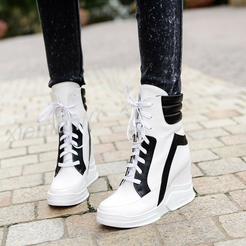 Womens Hidden Wedge Platform Sneakers Ankle Boot shoes Lace Up Pumps All US Size