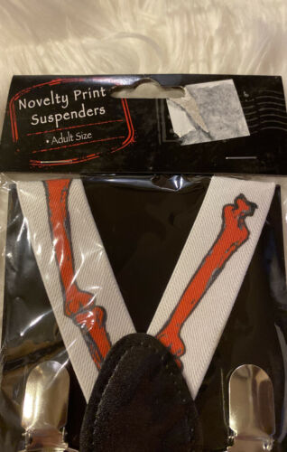 Skeleton Bones  Halloween Details about  /New Adult Novelty Suspenders