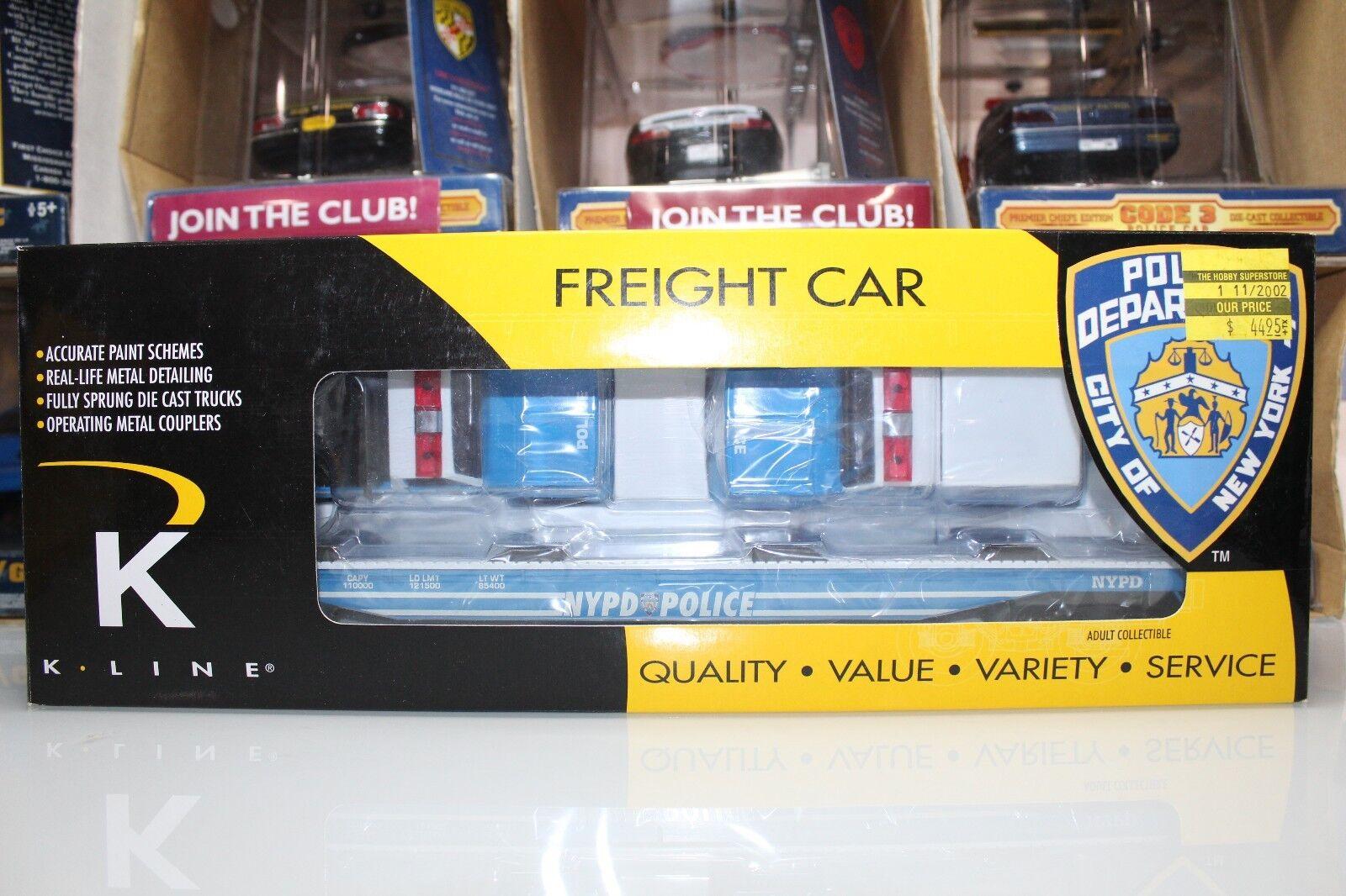 K-Line O Scale Freight Car NYPD FLAT CAR w POLICE CRUISER & VAN  K691-8020