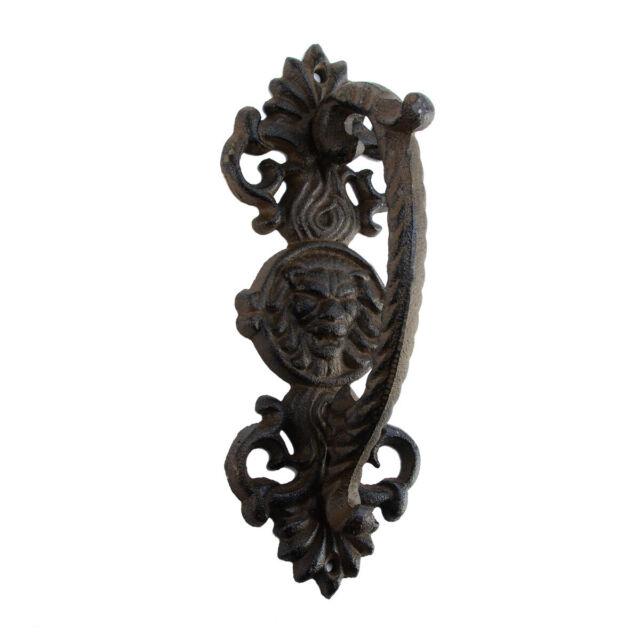 "2 Large Rustic Lion Head Face Ornate Cast Iron Gate Door Pull Handles 9-1//4/"" L"