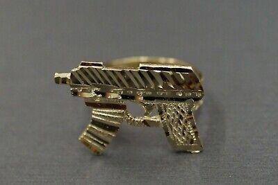10k or 14k Yellow Gold Split Band Light Machine Gun Bold Statement Ring