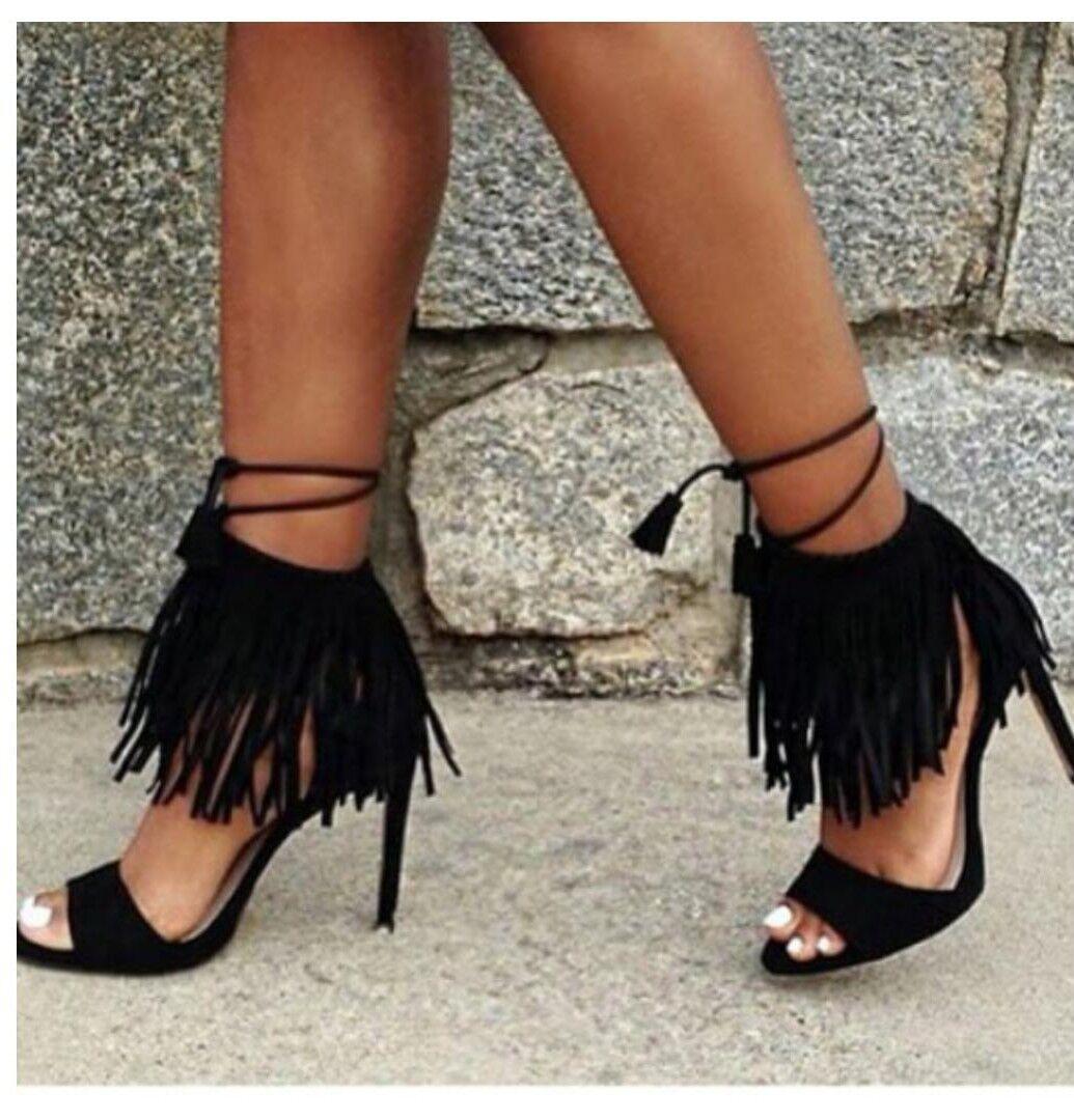 consegna veloce Zara Zara Zara fringed high heel sandals EUR 37 US 6.5 NWT    acquisto limitato