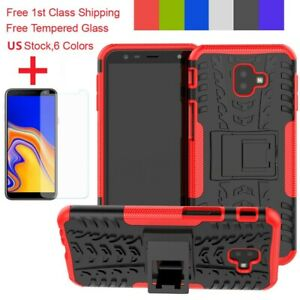 For-Samsung-Galaxy-J4-J6-Plus-Shockproof-Stand-Armor-Dual-Case-Tempered-Glass