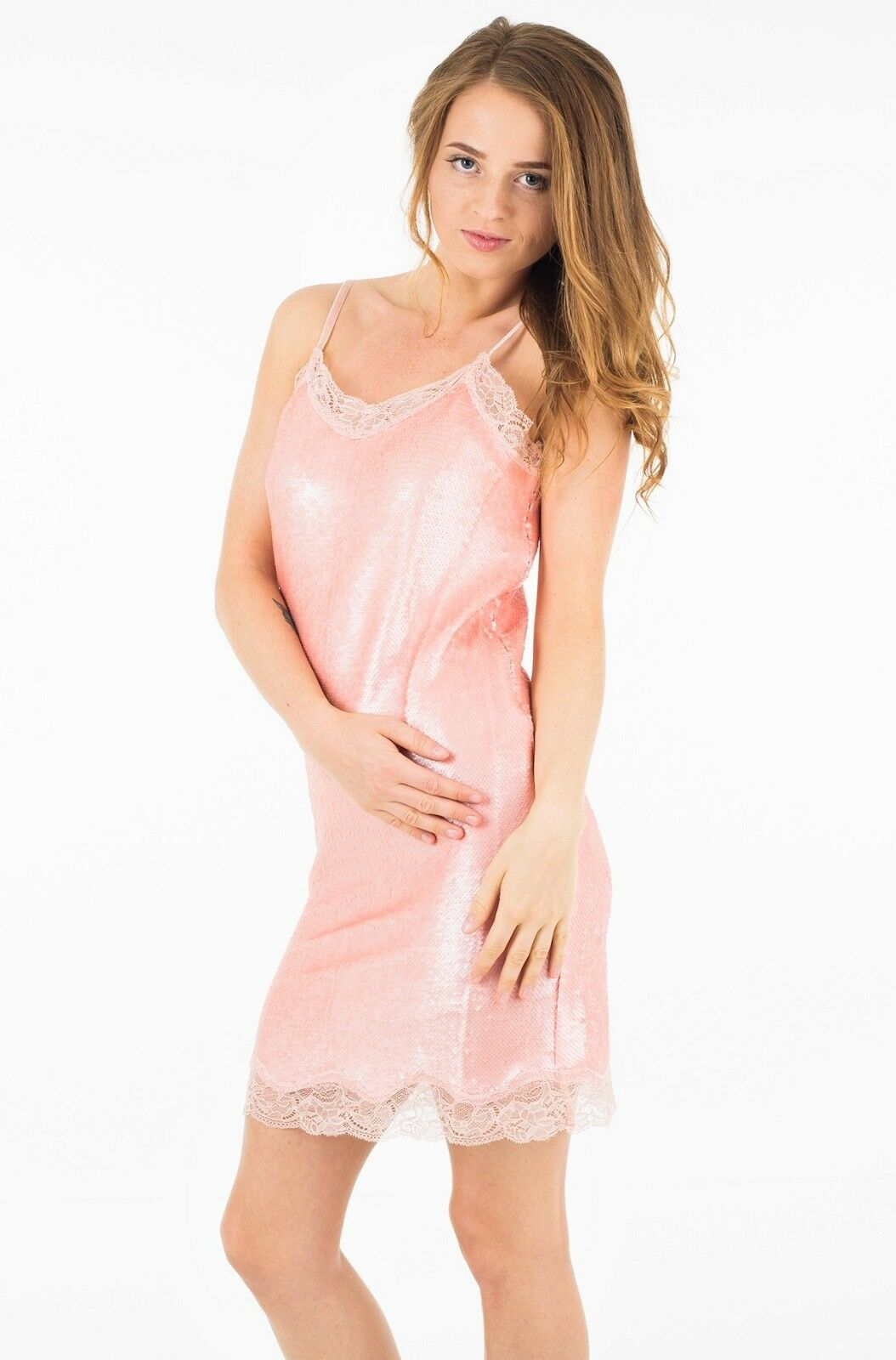 New Guess, Pink sequin and lace dress Size M  RRP