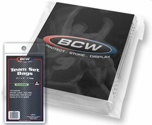 """BCW Resealable Team Set Bags 10 Packs 3 3//8/"""" x 5/"""" 1000 Count Sports Cards"""