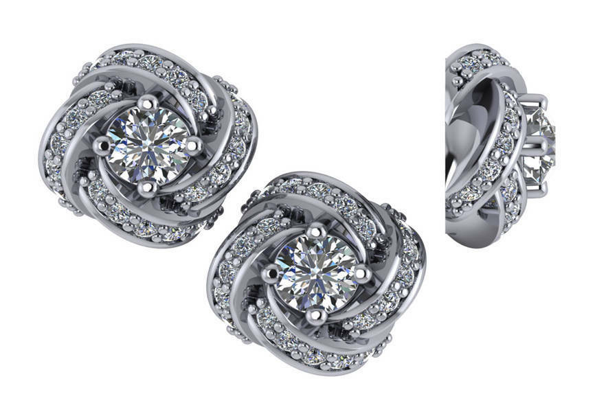 1.00 ct F SI1 round 100% diamond solitaire stud twisted halo earrings 18k gold