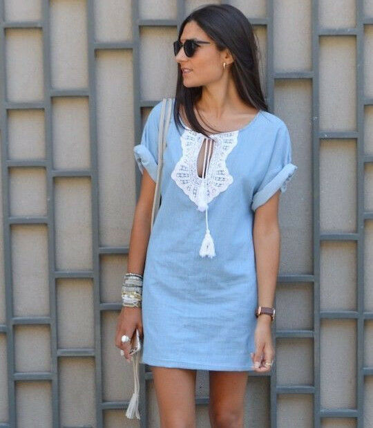 094f4be9 ZARA blueE WHITE DENIM COTTON MINI DRESS TUNIC TUNIC TUNIC EMBELLISHED  TASSEL BOHO HIPPIE S M b25b33