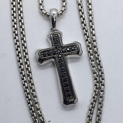 Zales Mens Black Spinel Cross Pendant In Sterling Silver