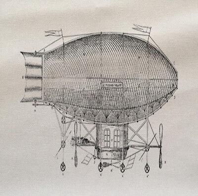Vintage dirigeable ballon imprimé tissu panneau faire un coussin tapisserie Craft
