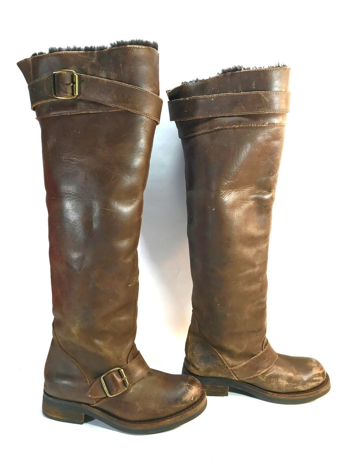 3b9280e25962 JEFFREY CAMPBELL distressed leather sheepskin 2 buckle side zip moto boots  brown oewzjt2381-Women s Boots