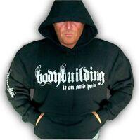 Bodybuilding Clothing Hoodie Workout Top Black Iron & Pain Logo G-55