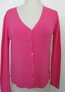 J-A-C-Hot-Pink-Cardigan-Sweater-With-Mother-of-Pearl-Buttons-Size-M