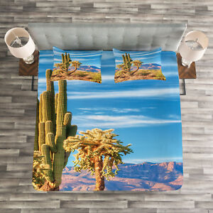 Mexican Quilted Bedspread /& Pillow Shams Set Cactus Plant Desert Print
