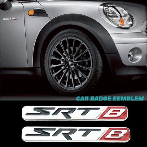 3D Metal Dodge SRT8 Logo Silver Car Side Fender Skirts Badge Emblem Sticker