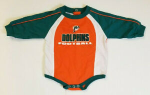 watch 4624a 56b32 Details about NFL Miami Dolphins Baby Boy's Long Sleeve Shirt One Piece  Size 3-6 Months