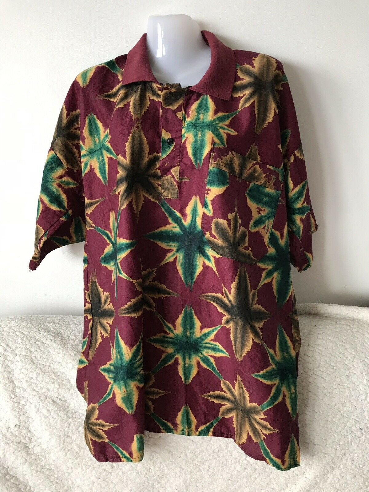 African Printed 100% Cotton Burgundy Men's Polo Top Size XL