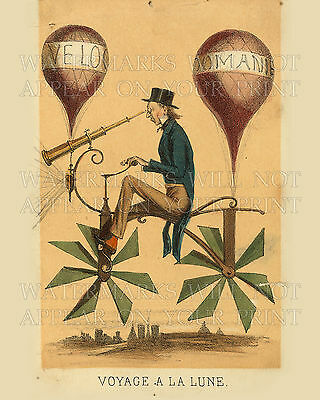 Flying bicycle balloons 1868 art repro print CHOICES new 5x7 or request 8x10 or