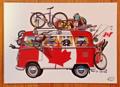 VW Volkswagen Split Screen Kombi Bus Campervan Canadian Flag Blank Greeting Card