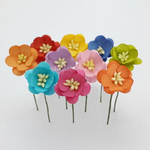 50 Paper Flowers Wedding Party Card Scrapbook Basket Dolls Home Decor S3-427