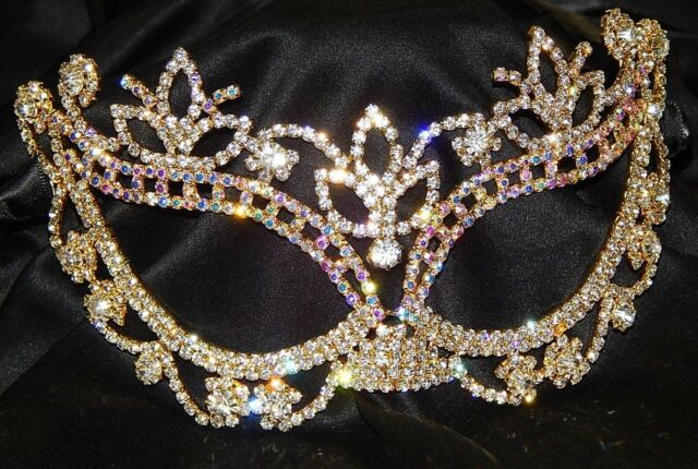 gold w ab rhinestone crystal masquerade mask mardi gras party