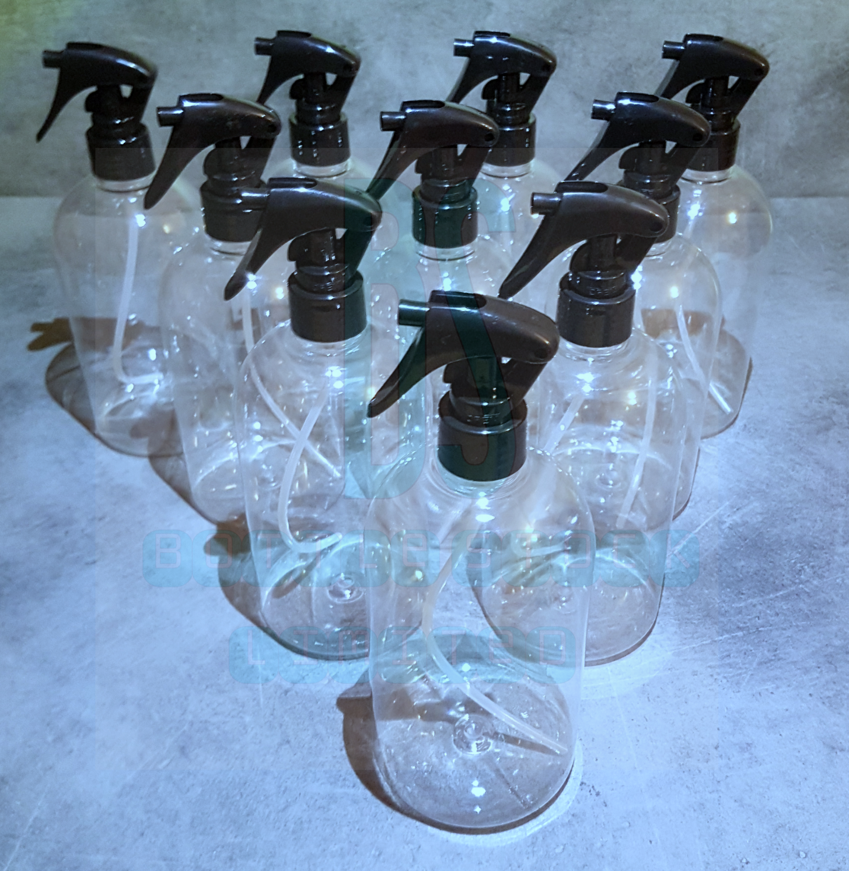 10x 500ml Empty Plastic Mini Trigger Bottle Cleaning Hand Spray Garden Clear Pet