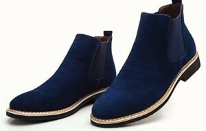 Men Casual Blue Suede Chelsea Boots,Men