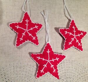 info for d4f50 99b1a Details about Handmade Christmas felt decorations - Set of 3 Stars