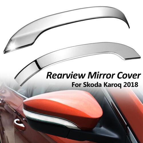 L/&R Chrome Car Rearview Mirror Protective Cover Trim Decor For Skoda Karoq 2018