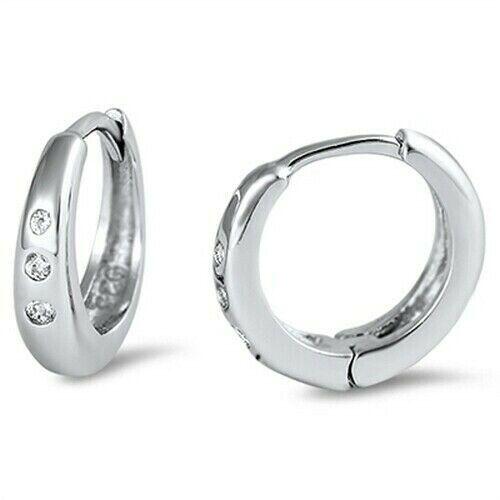 3 x 11 Huggie Hoop Earrings Clear Cubic Zirconia Solid Sterling Silver 925 Dim