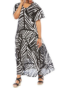 ca7ea852fea Womens PLUS size 20 22 24 26 28 30 Black   white maxi dress crinkle ...