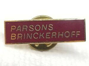 Vintage Engineering Maroon Metal Parsons Brinckerhoff Pin