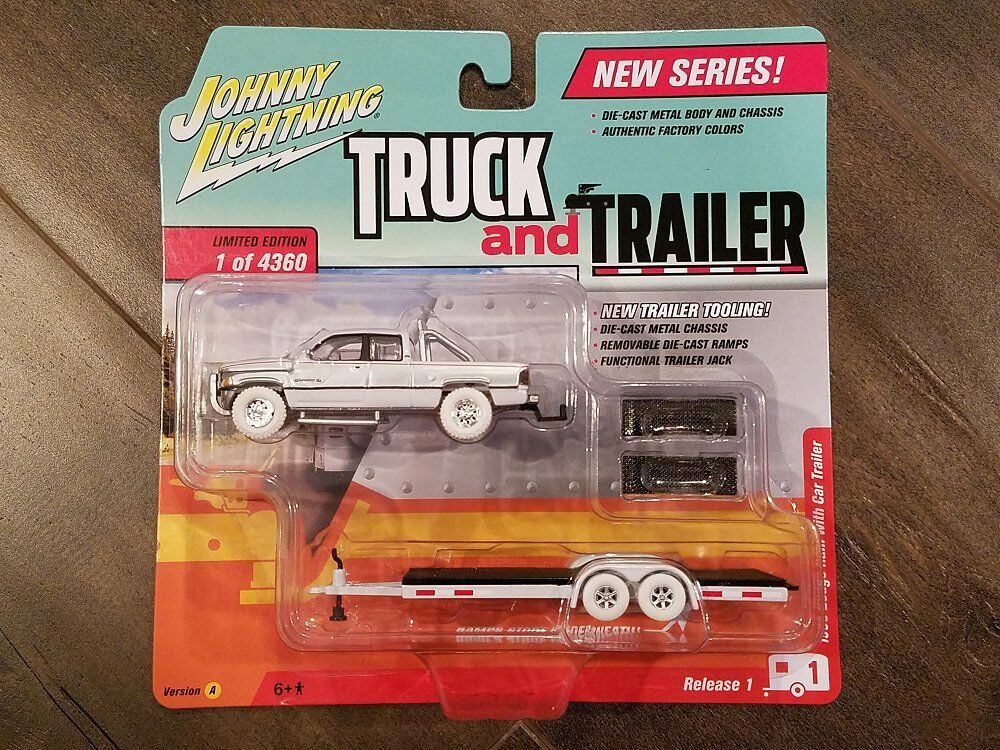 Johnny Lightning 1 64 Camión y remolque 1996 Dodge Ram Autocaravana Chase jlcp 7085