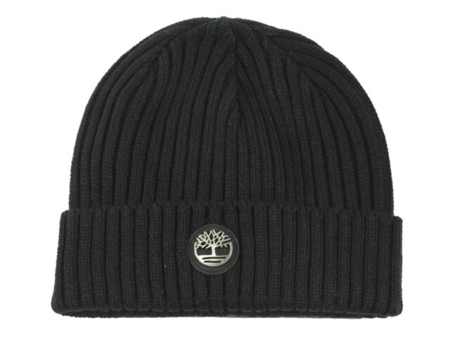 Timberland Men's Logo Plate Ribbed Watch Cap Beanie Hat (One Size Fits Most)