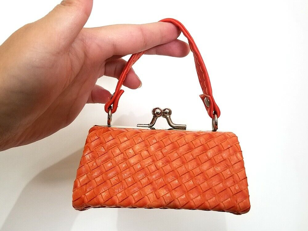 NEW Mini Orange Clasp Coin Purse Lipstick Holder Weaved Faux Leather Pattern