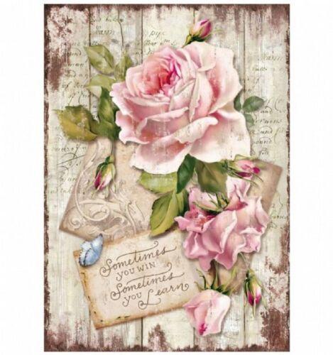 DFSA 4254 NEUF Stamperia papier de riz A4-Sweet Temps Rose