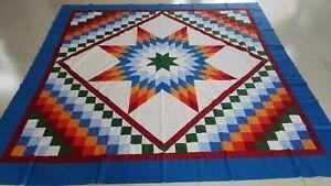 Machine pieced  Star patchwork Queen Size Quilt top#J-73