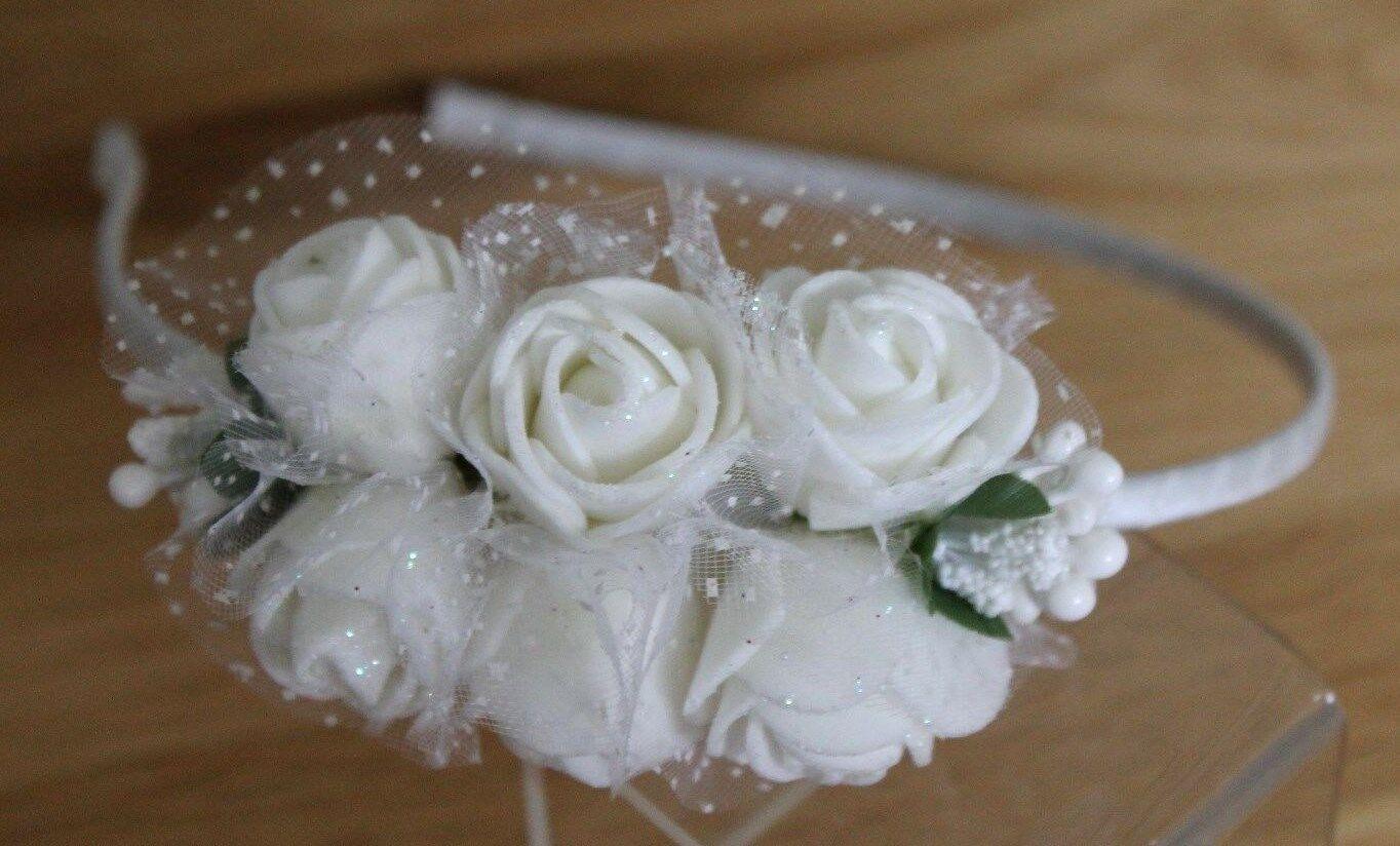 White Rose Flower Hairband, Alice Band, Headband, Bridal Bridesmaid Flower girl