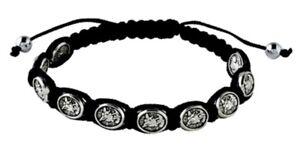 St-Michael-the-Archangel-amp-Guardian-Angel-Black-Adjustable-Cord-Bracelet-NEW
