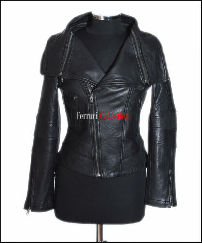 Anita Black Ladie/'s New Biker Style Jacket Fashion Real Lamsbkin Leather Jacket