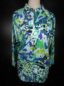 Beautiful-Women-039-s-3X-Onque-Casual-Green-Floral-LS-Zipper-Activewear-Jacket-GUC