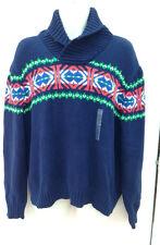 NWT Polo Ralph Lauren Novelty Shawl Collar Navy Jumper / Sweater - Sz L